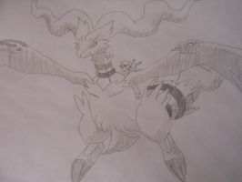 Ash and Pickachu on Reshiram (line art) by Spyroconvexity