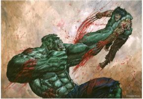 00 Hulk vs Wolverine by bushande