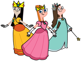 -comm- Phineas and Ferb Princesses by LightningRod728