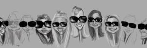 Girls with Shades WIP by DoodleArtStudios