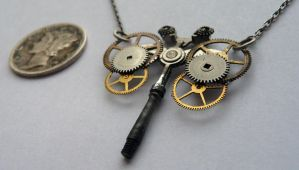 Gear Necklace 'Dragonfly' by AMechanicalMind