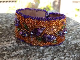 Beaded Lilac Cuff, side view by MountainInspirations