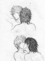 Zack x Cloud sketches by AurelGweillys