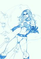 BLUE SKETCH 33 Invisible Woman by Mich974