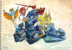 Power Princesses on a Battle Ram by matthewart