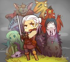 Adventures of chibi Witcher by EmjayxD