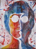 John Lennon by watercolors by Sarah-Sky