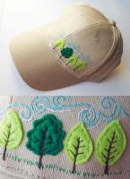 embroidery cap forest by una-dani