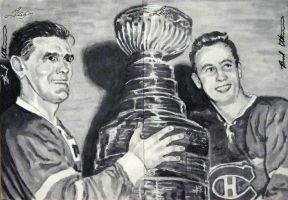 Maurice Richard Jean Beliveau Leaf sketch card by therealbradu