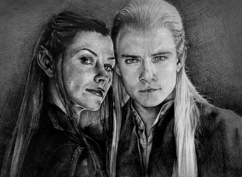 Legolas and Tauriel. Hobbit. by DianaOoops