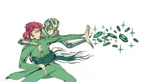 Kakyoin and Hierophant Green by 9999DamagePoints