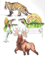 Prehistoric Creatures Marker Practice by redvarg