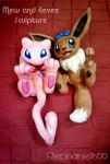 Mew and Eevee Sculptures by stephanie1600