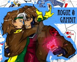 Rogue And Gambit Anime by chrisawayan