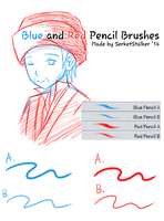 + Blue and Red Pencils Brushes | For MS5/CSP + by SerketStalker