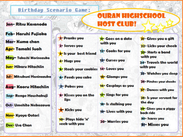 Birthday Scenario Game: Ouran Highschool Host Club by HyperBUBBLESxD
