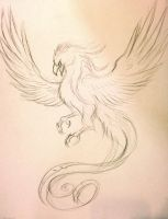 Phoenix Tattoo Sketch by Lucky978