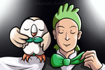 Cilan and Rowlet - Bow Tie Buddies by charlot-sweetie