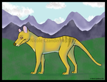 thylacine and mountains DA by CatopumaBadia