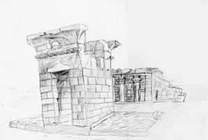 Temple Drawing by Xoxorian