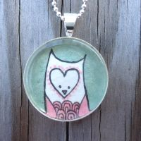 Pink Owl Pendant by cellsdividing