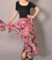 Pink White Brown Floral Skirt2 by yystudio