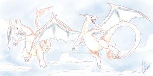 Charizard and Mega Charizard by Tatew