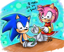 Sonic and Amy by Hanybe