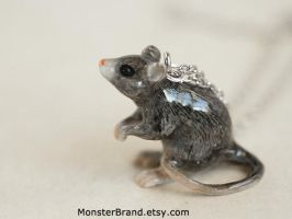 Gray Mouse Necklace by MonsterBrandCrafts