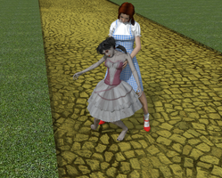 Dorothy tries to stand the raggedy doll up. by AmethystPendant