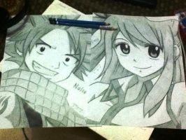 Natsu and Lucy by lilredbleed