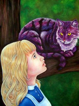 Alice and the Cheshire Cat by whiterabbitart