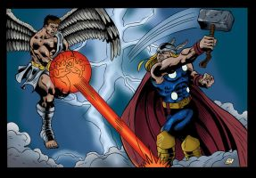 Thor vs Icarus by mike-mcgee