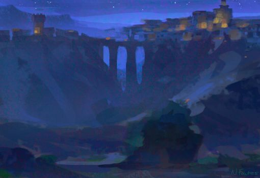 Nightscape Sketch for Puss in Boots by NathanFowkesArt