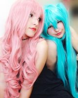 Megurine Luka and Hatsune Miku Cosplay by DEATHNOTE---L