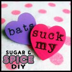 HARD CANDY Bats Suck Blood Handmade Pin Brooch Set by SugarAndSpiceDIY