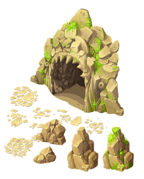 Cave entrance and stones by Ainama