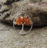 Carnelian and Citrine Tree of Life Pendant by SerenityWireDesigns