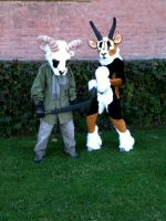 Gazelle fursuit and Goat man by Allmypower
