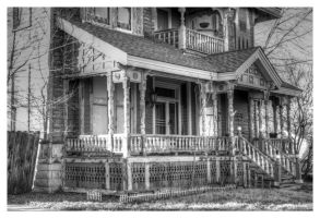 Old House On Waco (east side details, b/w) by Merhlin