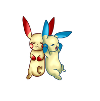 Plusle and Minun by Absoll