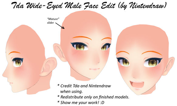 TDA Wide-Eyed Male Face [DL] by Nintendraw