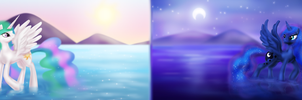 Daybreak and Midnight over the Lake 1080p by Zedrin