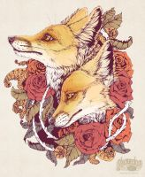 Red Fox Bloom by Plaguedog
