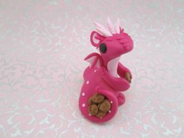 Pink Cookie Hoarder Dragon by KriannaCrafts