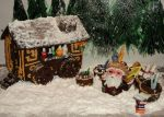 Gingerbread Shop and Shopkeeper in Winter by KarenzaFritters