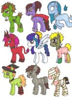Halloween Monster Ponies CLOSED by MythologyIslandAdopt