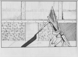 pyramid head - silent hill by younesanimedrawing