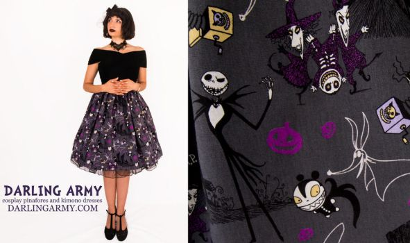 Nightmare Before Christmas Tea Length Skirt by DarlingArmy