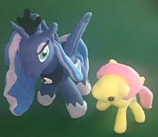 Fluttershy and Luna plushies by ArtStude3n2